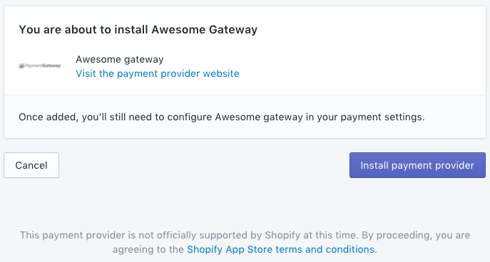Install page for the payment gateway integration