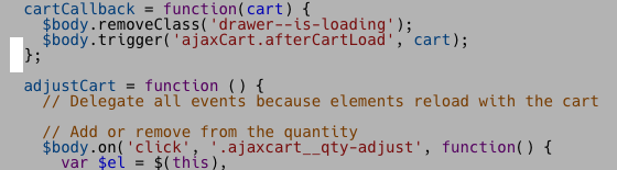 Theme code editor with the line before adjustCart highlighted
