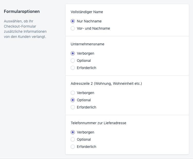 Shopify – Einstellungen für die Felder im Checkout-Formular