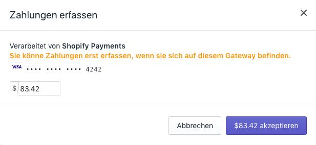 Shopify - Erfassung der Zahlung bearbeiten