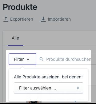 Produktmenü filtern