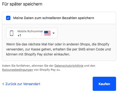 Shopify Pay Anmeldedialogfenster