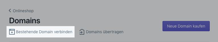 Bestehende Domain verbinden
