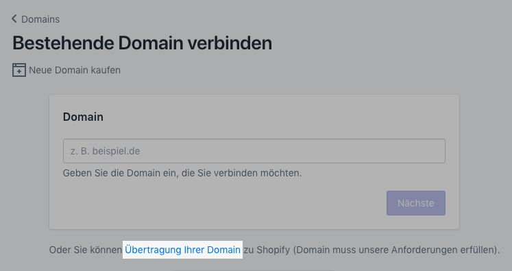 Übertragung Ihrer Domain