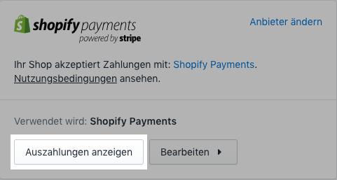 Die Schaltfläche Auszahlungen anzeigen für Shopify Payments