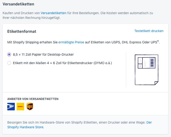 Shopify Shipping – Druckertyp