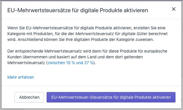Bestätigen und aktivieren Sie die EU-Steuer für digitale Produkte