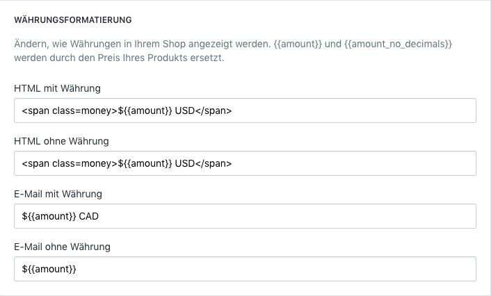 Die Seite Shopify-Adminbereich zeigt Währungsformatierung mit angewandten Span-Elementen
