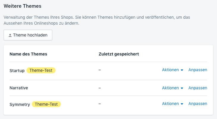 """Die Theme-Seiten im Adminbereich mit den beiden Themes, die als """"Theme-Test"""" bezeichnet werden"""