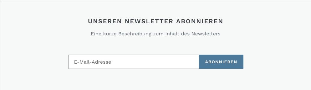 Newsletter-Bereich auf einer Website. Es ist ein Feld vorhanden, in dem Kunden eine E-Mail-Adresse eingeben können, und die Schaltfläche