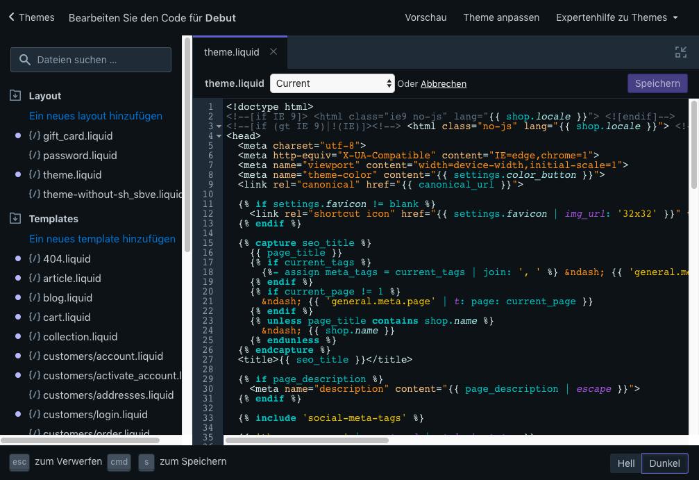 Der Code-Editor mit Farbschema