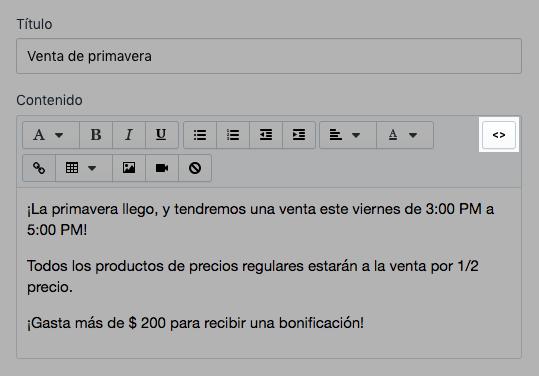 Mostrar botón del editor de HTML