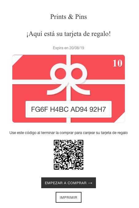 Ejemplo de una tarjeta de regalo en línea