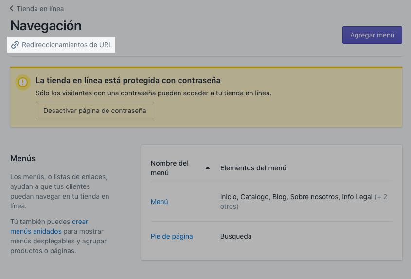 Página de redireccionamientos de URL