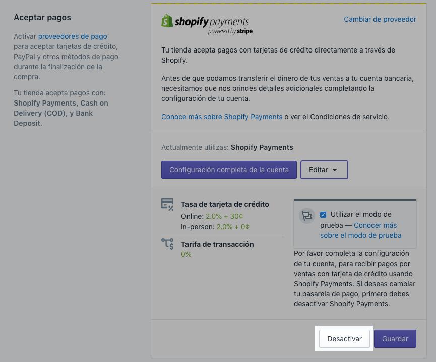 Pedido de prueba Shopify para desactivar el botón del proveedor
