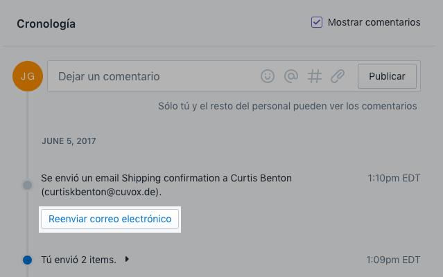 Pedido - reenviar correo electrónico