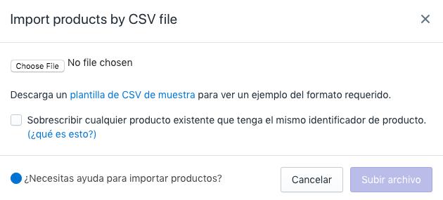 Importar productos por la ventana de archivo CSV