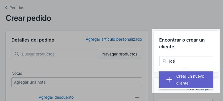 Captura de pantalla del campo Buscar o crear cliente.