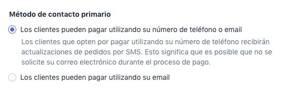 Pantalla de pagos con opción de correo electrónico o teléfono en la configuración de Notificaciones