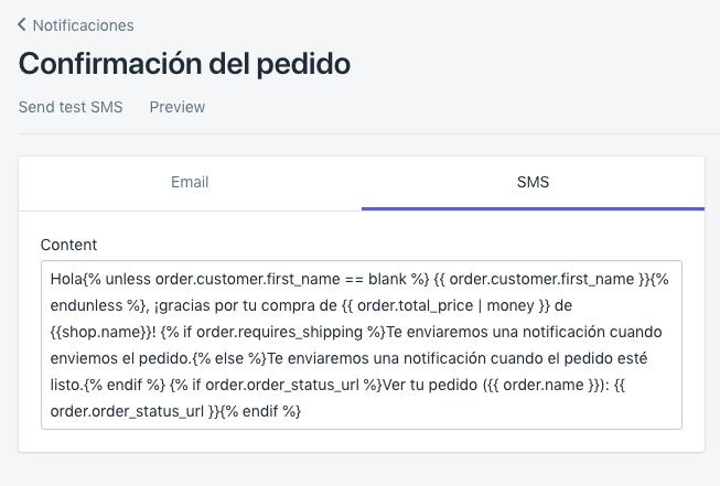 Plantilla de SMS para la notificación de confirmación de pedido