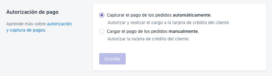 La opción de captura automática en la sección Autorización de pago