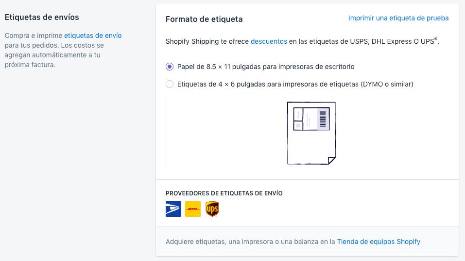 Shopify Shipping - tipo de impresora