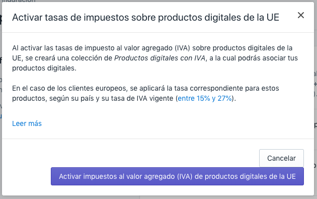 Confirmar y habilitar las tasas del impuesto sobre productos digitales de la UE