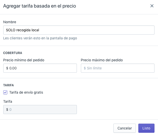 Shopify Shipping - tarifa de recolección local 1