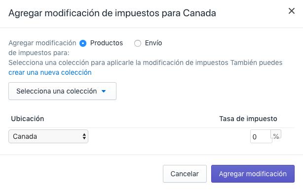Haz clic en Productos en la sección Agregar modificación de impuesto para el país para modificar impuestos de productos