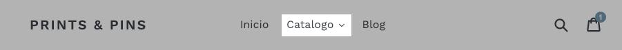 Página de inicio de Debut con el enlace de Catálogo resaltado en el menú superior
