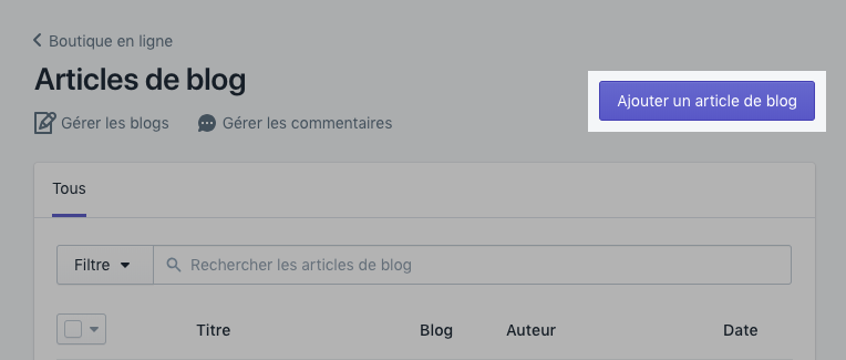 Ajouter un bouton d'article de blog à la page Articles de blog