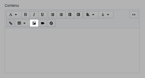 Insérez un bouton image à la section **Contenu** de l'article.