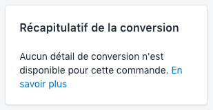 Section de récapitulatif de conversion vide
