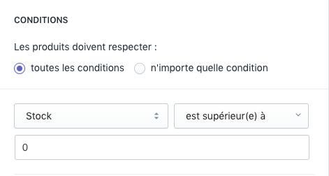 Configurer les conditions des collections