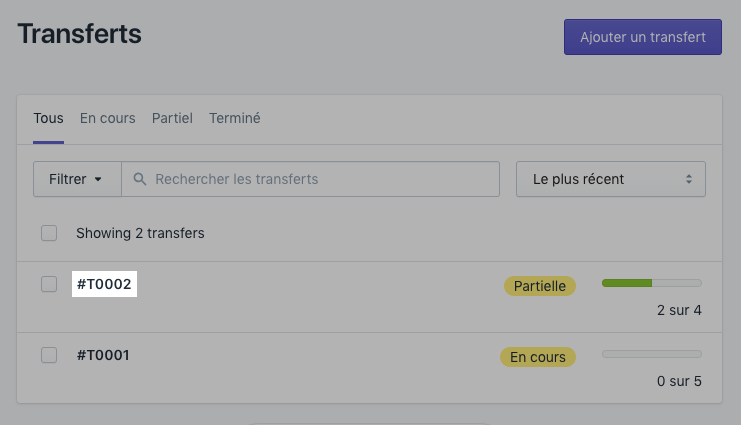 Cliquez sur le numéro de transfert