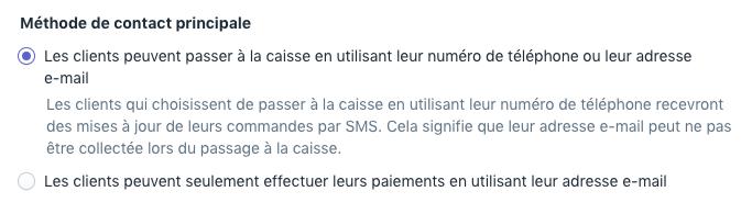 Passage à la caisse avec option d'e-mail ou de téléphone dans les paramètres de notifications
