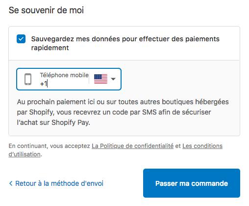 Boîte de dialogue d'activation de Shopify Pay