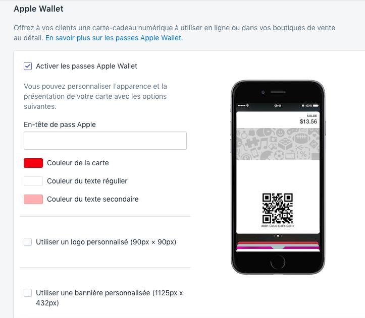 Aperçu et options pour l'apparence du passe Apple Wallet avec texte d'en-tête, couleurs et cases à cocher pour l'utilisation d'un logo ou d'une bannière personnalisé(e)