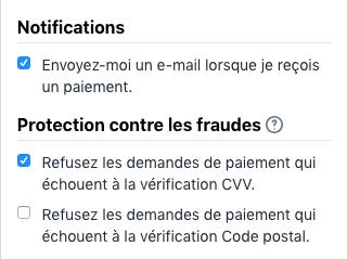 Les cases à cocher pour les notifications et la prévention contre les fraudes