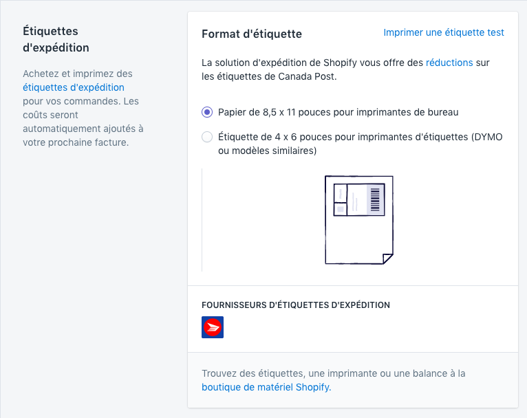 Solution d'expédition de Shopify - type d'imprimante