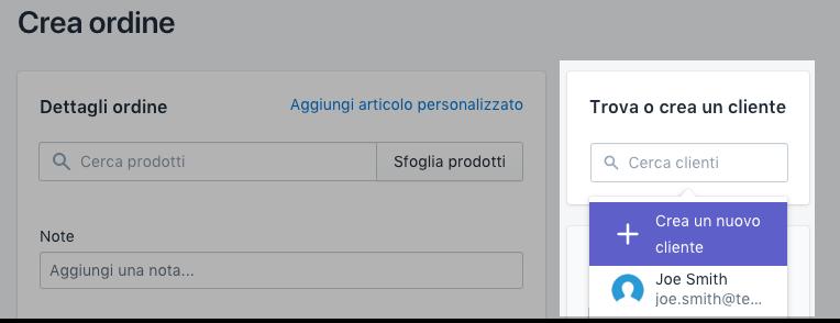 Schermata del campo Trova o crea cliente.