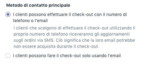 Opzione di check-out con email o telefono nelle impostazioni delle Notifiche