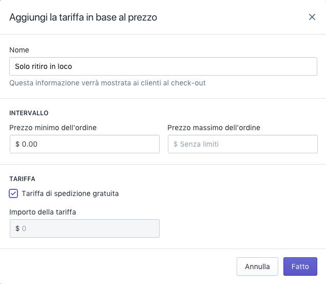 Shopify Shipping - tariffa di ritiro locale 1