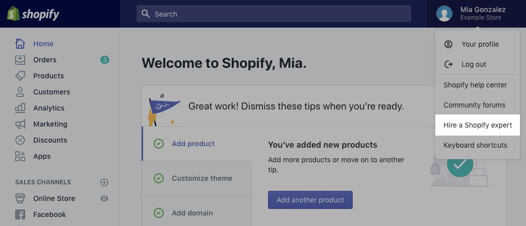 Contatta un Esperto Shopify