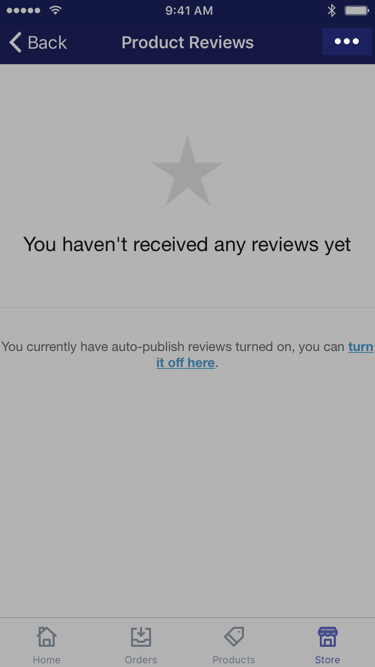 ... button in the Product Reviews app —Shopify for iPhone
