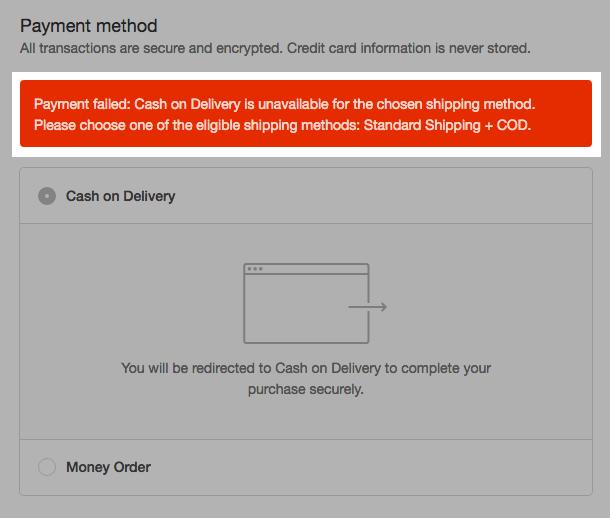 Payment failed error message