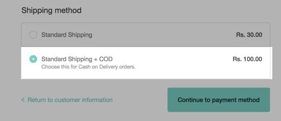Choosing a shipping method