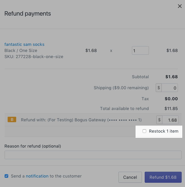 Refund payments with the restock item option disabled