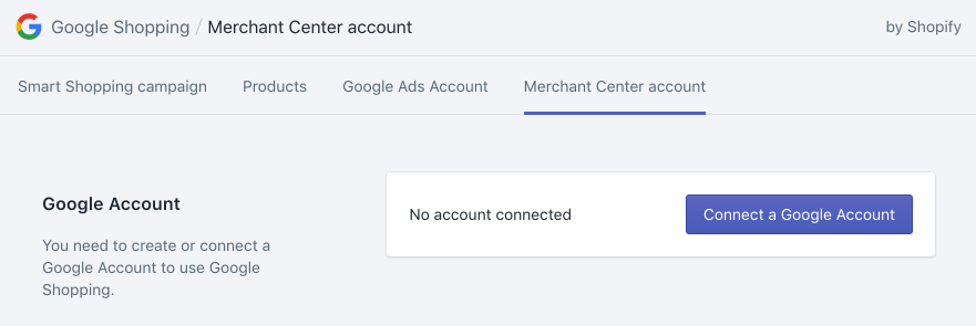 Connect a Google Account button on the Google Shopping app page