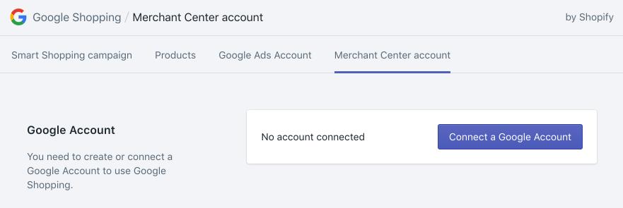 Google 購物應用程式頁面上的連結 Google 帳戶按鈕